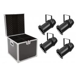 EUROLITE Set 4x LED PAR-64 COB 3000K 100W Zoom sw + Case