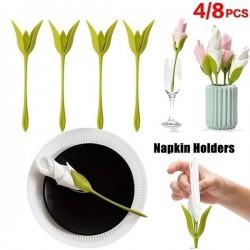 4er-Set Serviettenhalter Blütenknospen im Floral Design