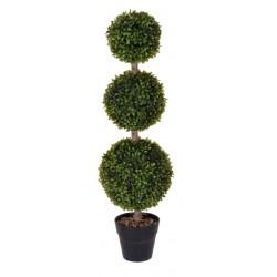 Kunstpflanze Buchsbaum mit 3 Kugeln - 85cm