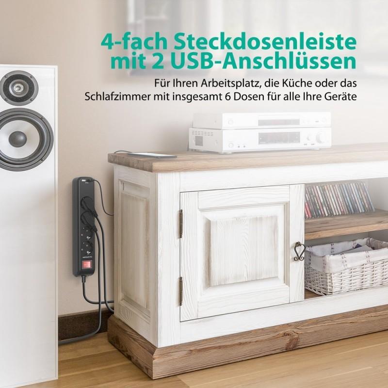 ravpower 4 fach steckdosenleiste mit 2 ismart usb anschl sse. Black Bedroom Furniture Sets. Home Design Ideas