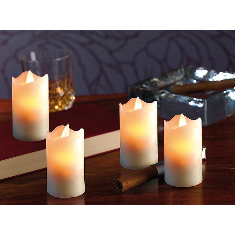 led echtwachskerze mit beweglicher flamme 4er set. Black Bedroom Furniture Sets. Home Design Ideas