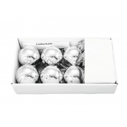 EUROPALMS LED Weihnachtskugel 6cm,silber 6x